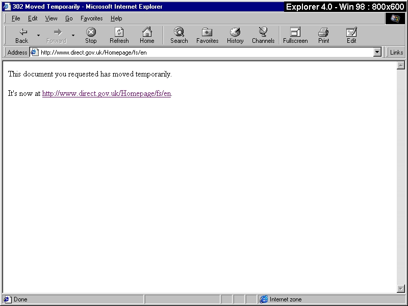Browsercam image of Directgov site viewed using Internet Explorer 4 and Windows 98
