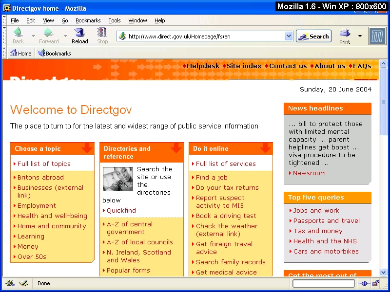 Browsercam image of Directgov site viewed using Mozilla 1.6 and Windows XP